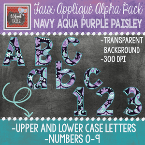 Alpha & Number Pack - Faux Applique - Navy Aqua Purple Paisley