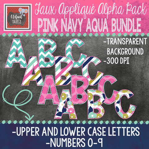 Alpha & Number Pack - Pink Navy Aqua BUNDLE