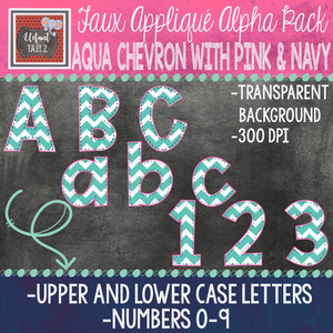 Alpha & Number Pack - Faux Applique - Aqua Chevron with Pink & Navy