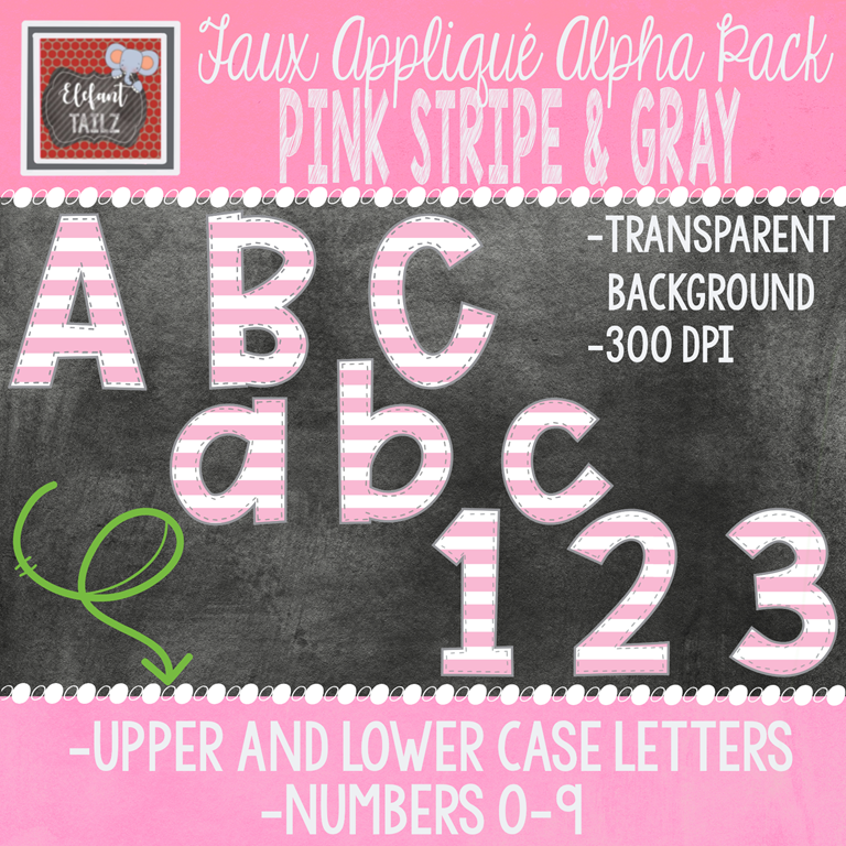 Alpha & Number Pack - Faux Applique - Pink Stripe & Gray