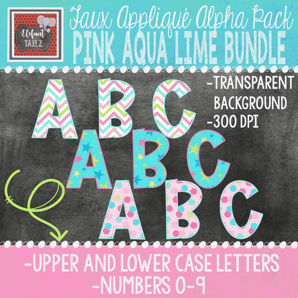 Alpha & Number Pack - Pink Aqua Lime BUNDLE