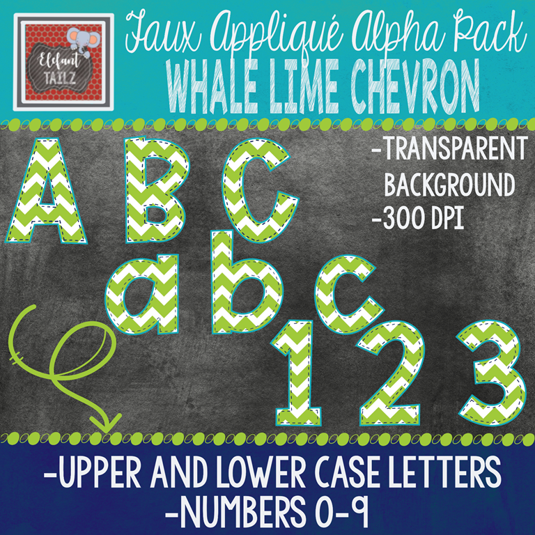 Alpha & Number Pack - Faux Applique - Whale Lime Chevron