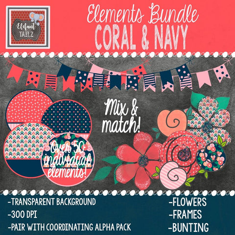 Coral & Navy Elements BUNDLE