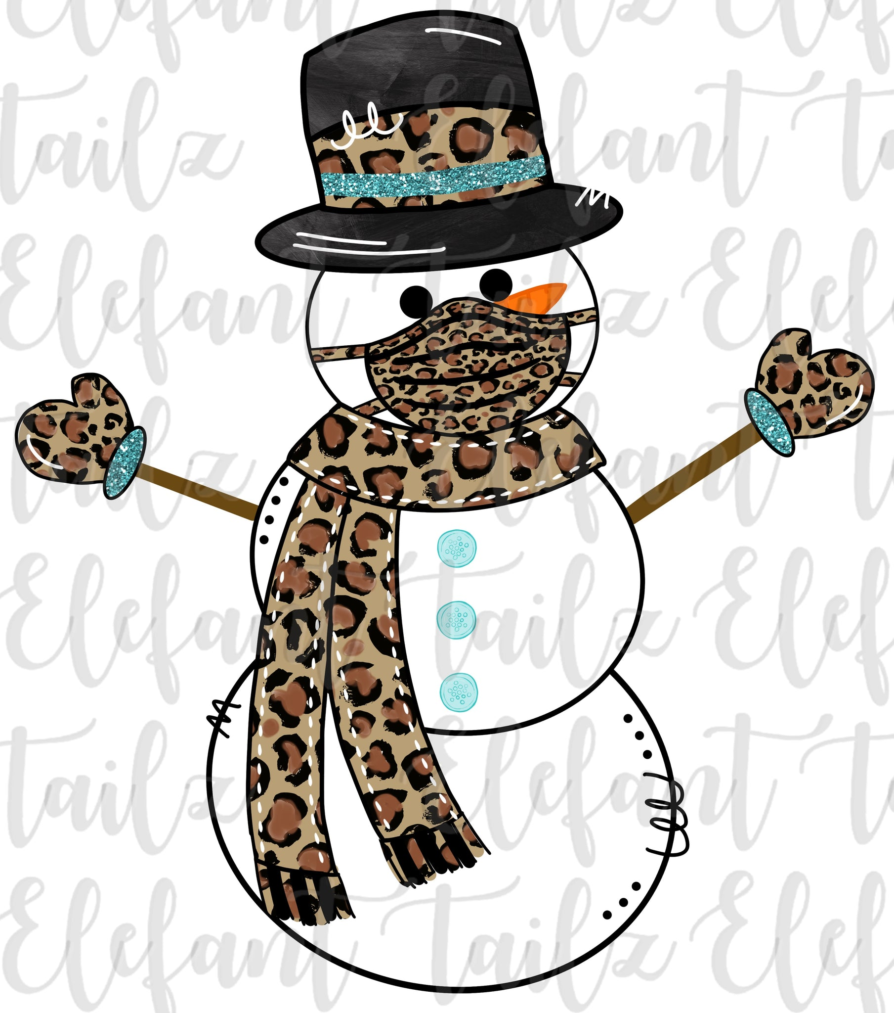 Snowman with Mask - Leopard