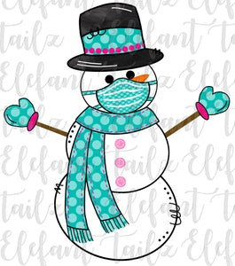 Snowman with Mask - Teal Polka Dot