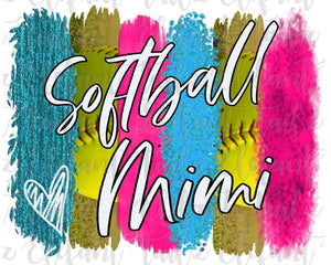Softball Mimi Brushstrokes