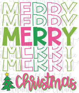 Stacked Merry Christmas Pink & Green