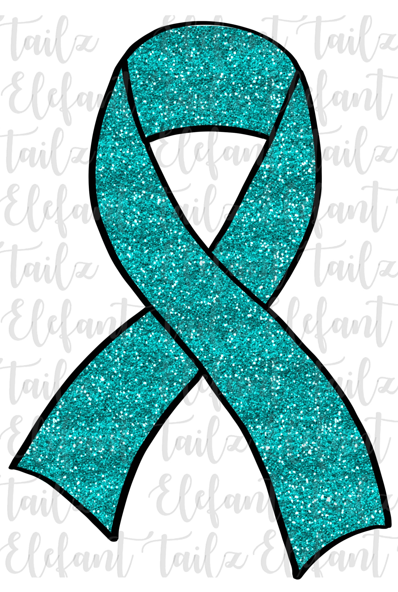 Teal Glitter Awareness Ribbon