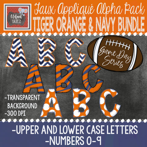 Game Day Series Alpha & Number Pack - Tiger Orange & Navy