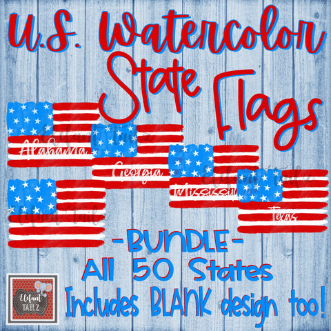 U.S. Watercolor State Flags - All 50 States BUNDLE