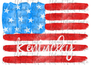 U.S. Flag Watercolor Kentucky