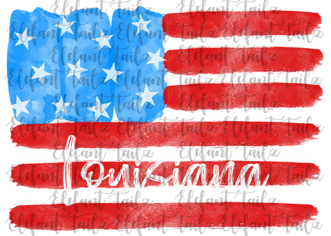 U.S. Flag Watercolor Louisiana