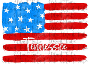 U.S. Flag Watercolor Tennessee