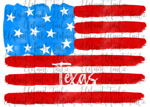 U.S. Flag Watercolor Texas