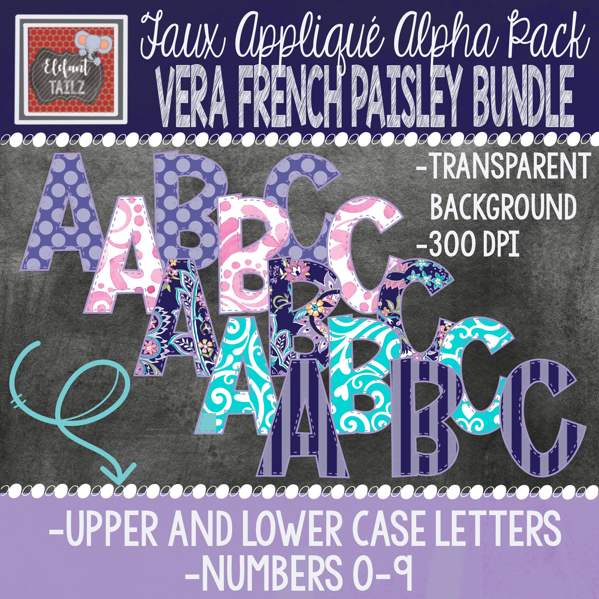Alpha & Number Pack - Vera French Paisley BUNDLE