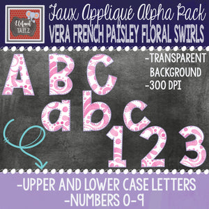 Alpha & Number Pack - Vera French Paisley Swirls