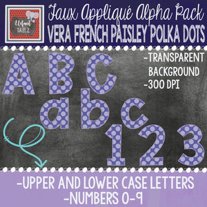 Alpha & Number Pack - Vera French Paisley Polka Dots