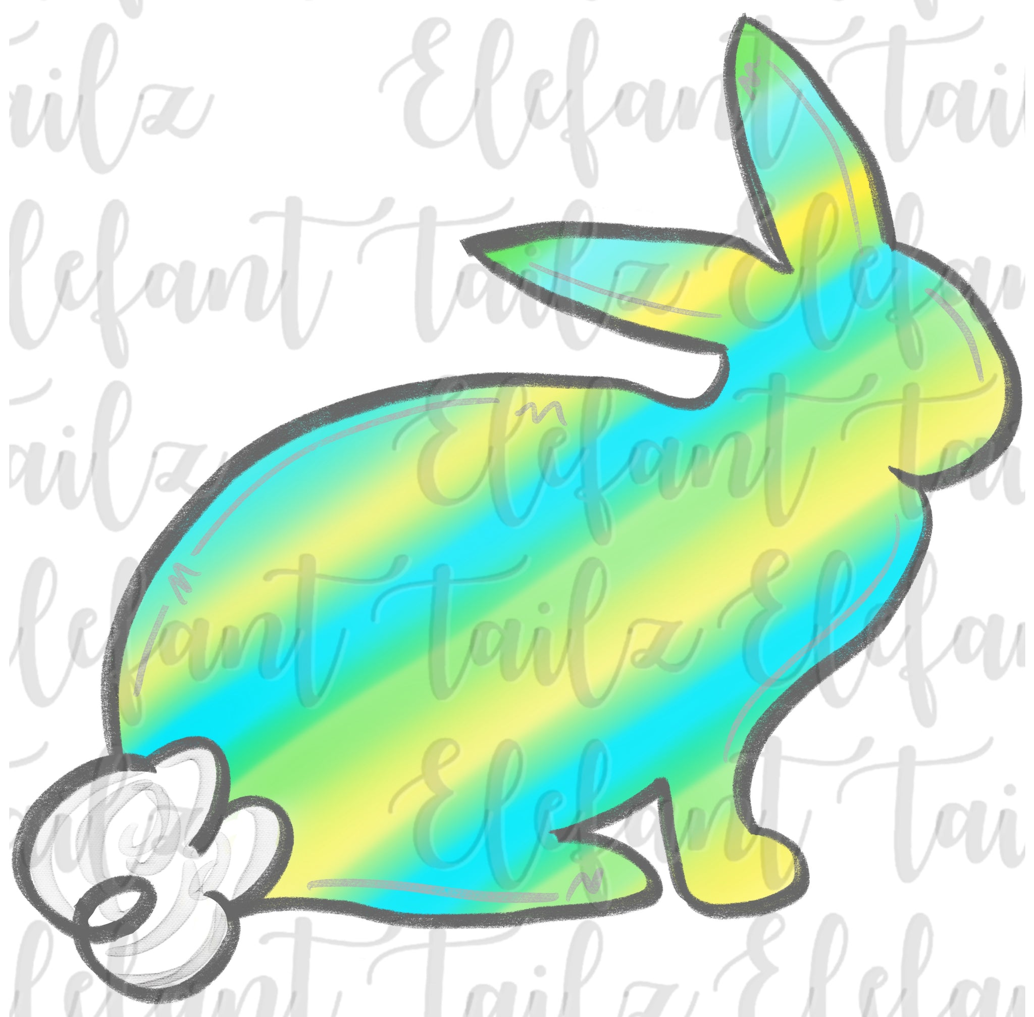 Watercolor Stripe Bunny - Blue