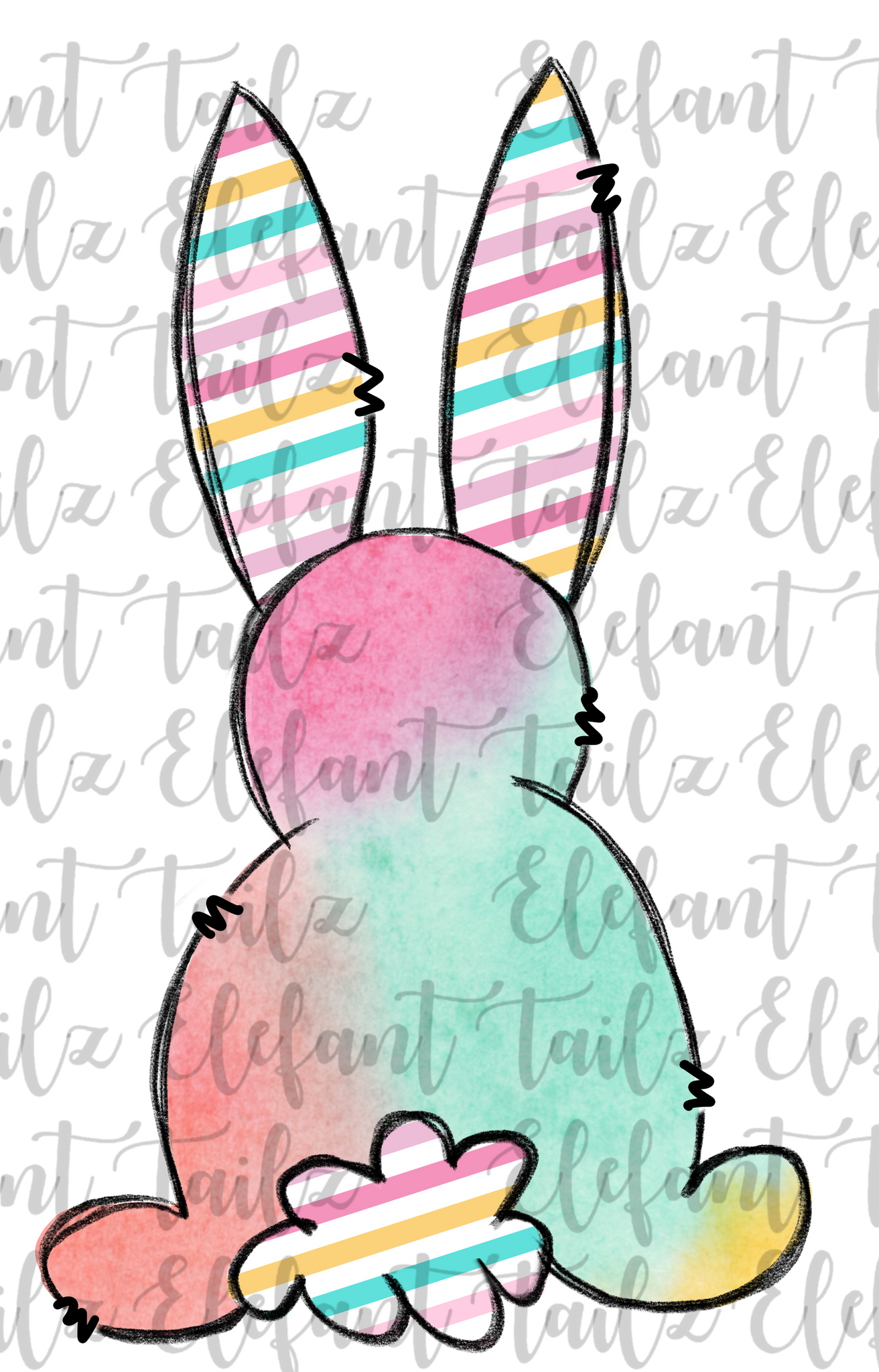 Watercolor & Stripe Bunny