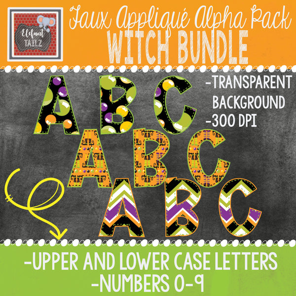 Alpha & Number Pack - Halloween Witch BUNDLE