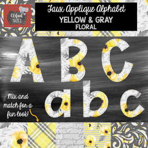 Alpha & Number Pack - Faux Applique - Gray & Yellow Floral