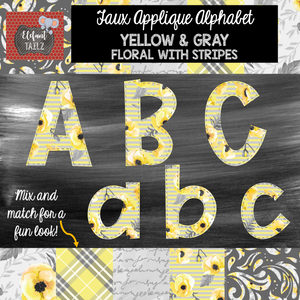 Alpha & Number Pack - Faux Applique - Gray & Yellow Floral Stripes