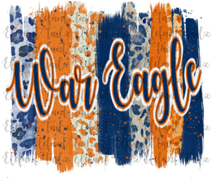 Auburn War Eagle Paintbrush Strokes