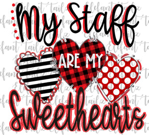 My Staff Are Sweethearts Red and Black Hearts