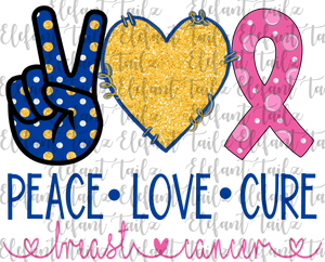 Peace Love Cure Breast Cancer Blue & Yellow