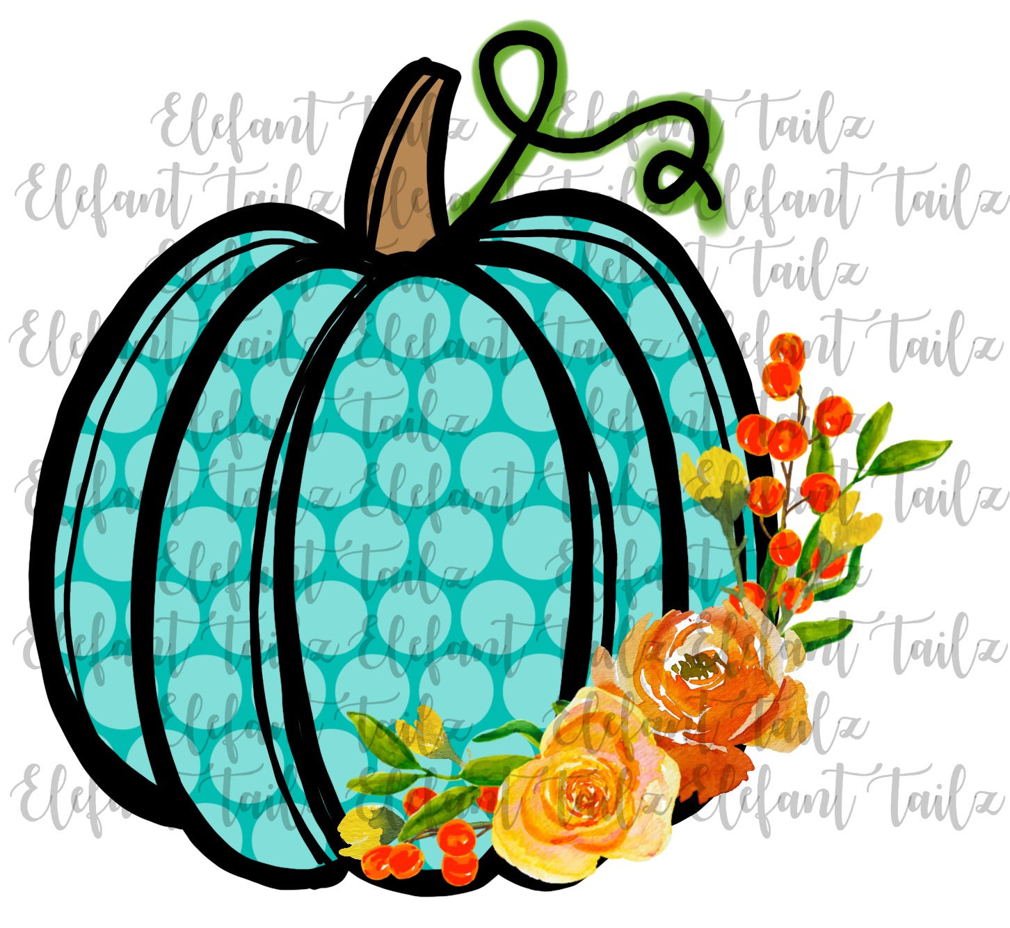 Teal Polka Dot Pumpkin with Flowers