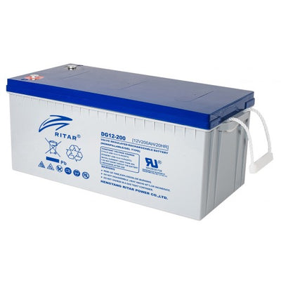 stromkilden-no - RITAR GEL Deep Cycle Batteri 12V 200AH (522x240x223mm) +høyre - Batteri