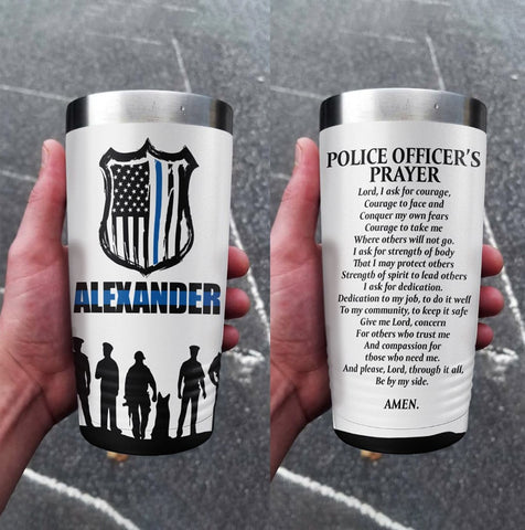 Police Officer Prayer Personalized Full Color Wrap Tumbler