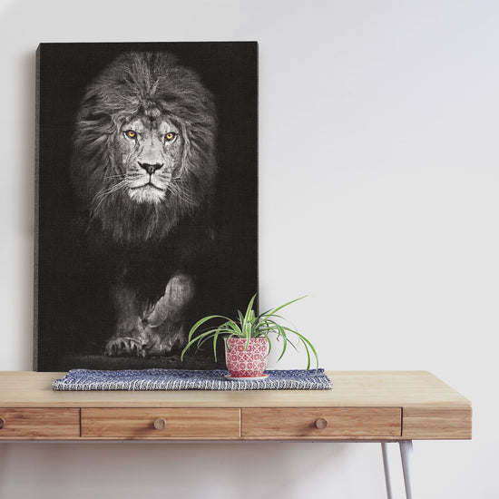 Black And White Lion Premium Canvas
