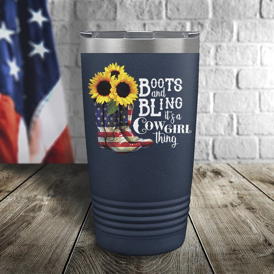 Cowgirl Boots and Bling Color Printed Tumbler