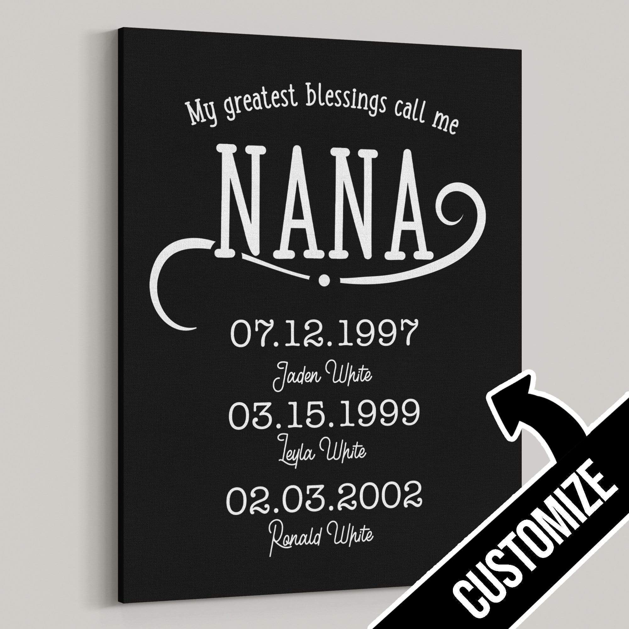 My Greatest Blessings Call Me Nana Personalized Canvas - Canvas Zone