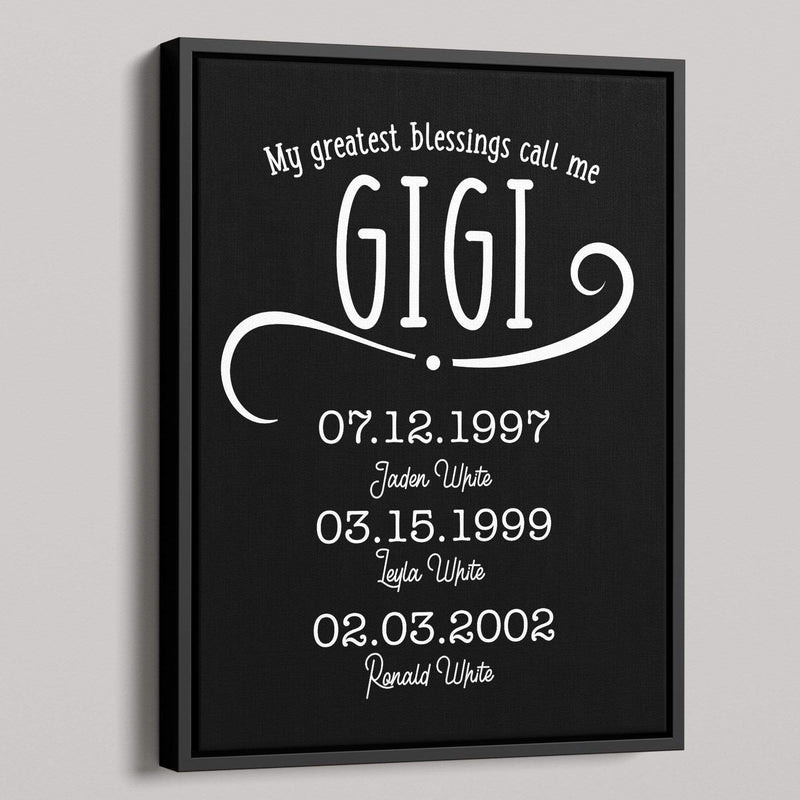 My Greatest Blessings Call Me Gigi Personalized Canvas - Canvas Zone