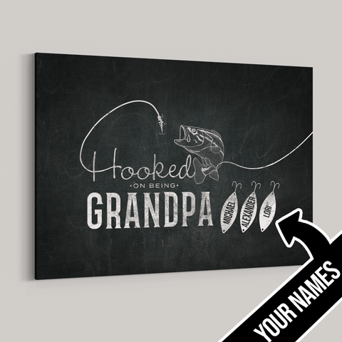 Hooked on being Grandpa Personalized Premium Canvas