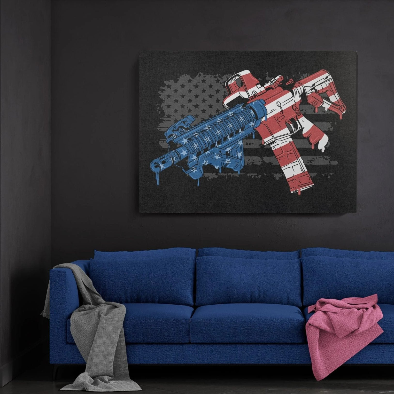 US Flag Firearm Premium Canvas