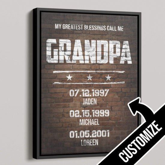 My Greatest Blessings Call Me GRANDPA Rustic Canvas