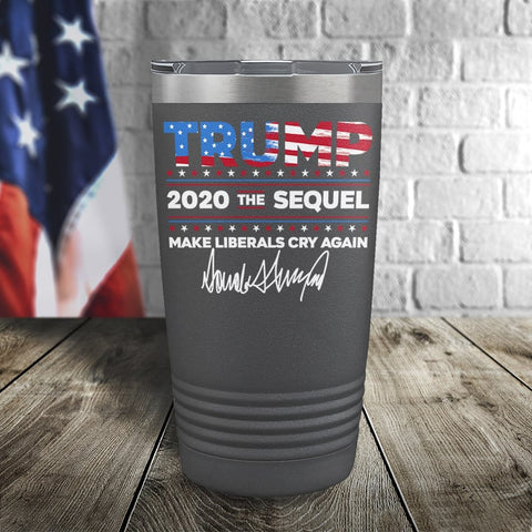 Trump 2020 The Sequel Signature Flag Grey 20oz Color Printed Tumbler
