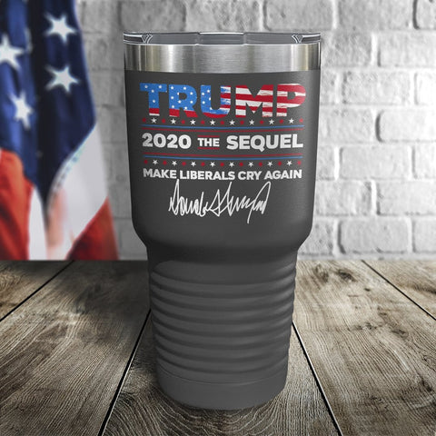 Trump 2020 The Sequel Signature Flag Grey 30oz Color Printed Tumbler