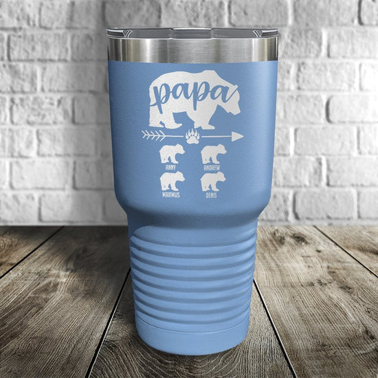Papa Bear Personalized Color Printed Tumbler