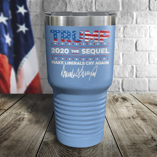 Trump 2020 The Sequel Signature Flag Version Color Printed Tumbler