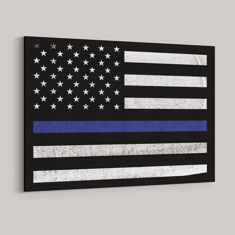 US Blue Line Flag Premium Canvas