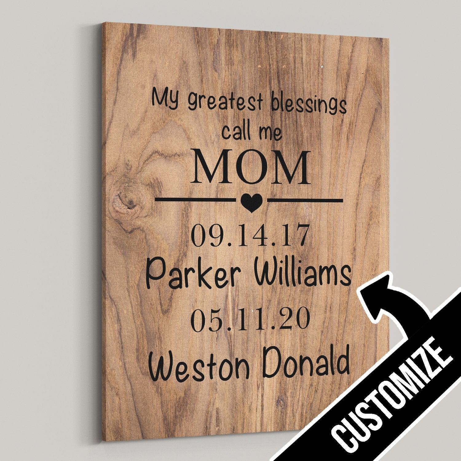 My Greatest Blessings Call Me Personalized Wood Canvas - Patriot Republic