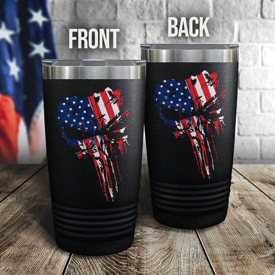 Punisher US Flag Full Color Wrap Tumbler