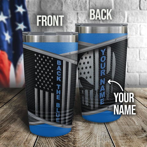 Punisher Blue Line Personalized Full Color Wrap Tumbler