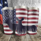 Deer US Flag Full Color Wrap Tumbler