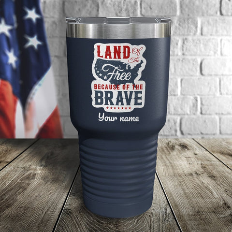 Land of The Free Personalized Color Printed Tumbler