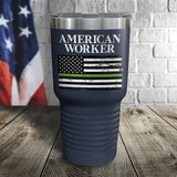 American Worker Thin Green Line Color Printed Tumbler
